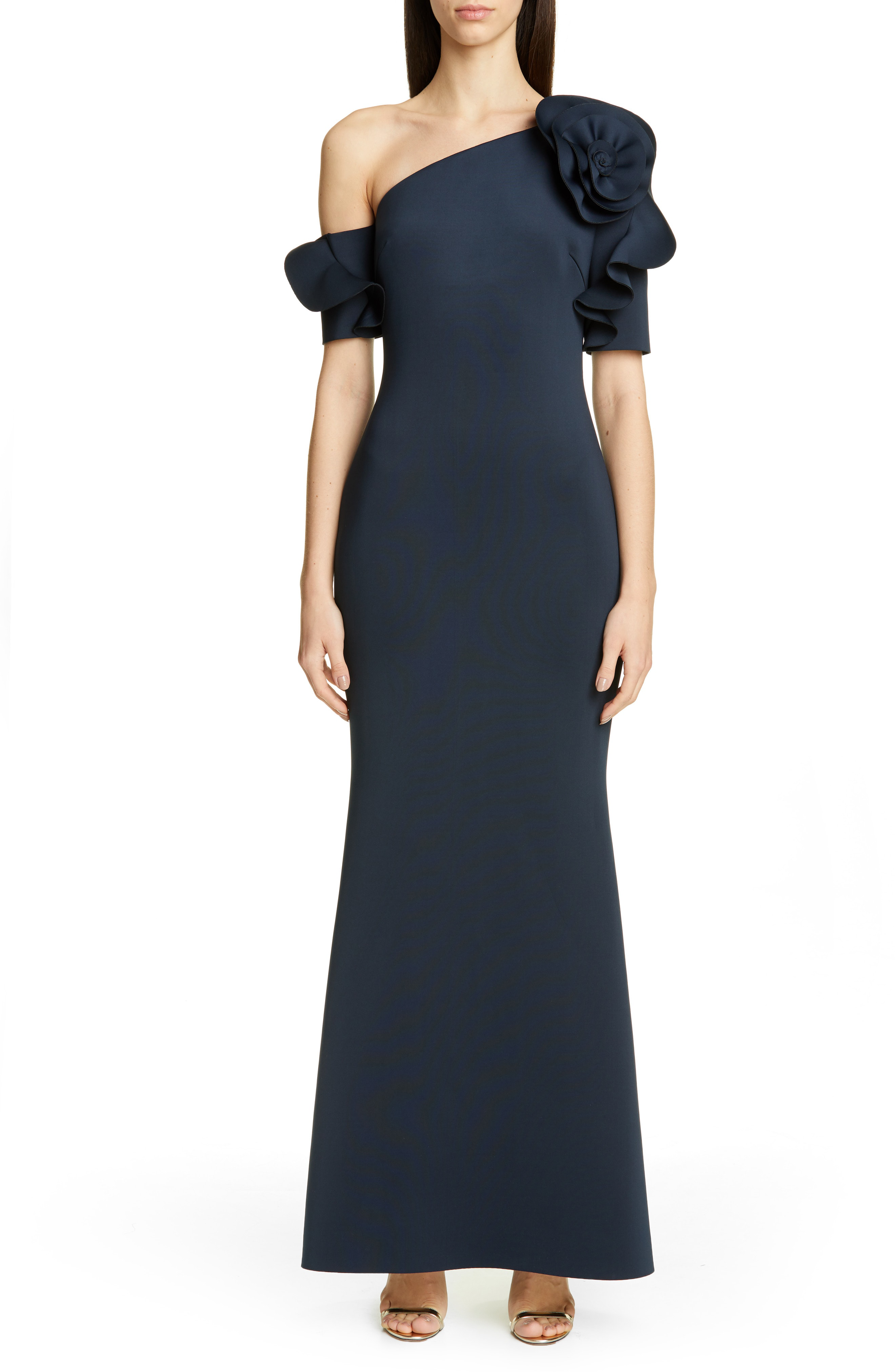 359ce27bf45 Badgley Mischka One-Shoulder Trumpet Evening Dress In Navy