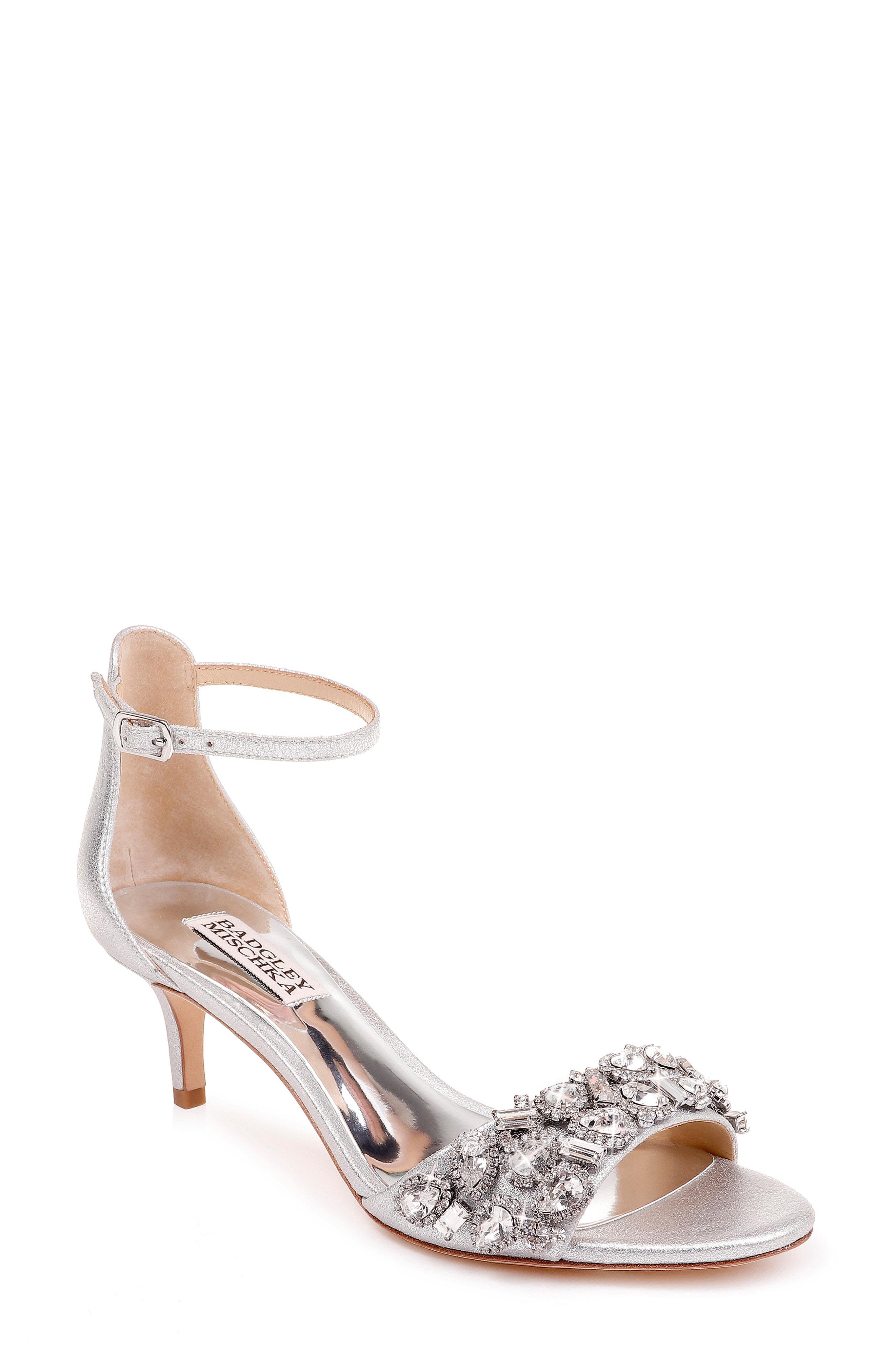df237b024 Badgley Mischka Lara Embellished Metallic Kitten-Heel Sandals In Silver  Metallic Suede