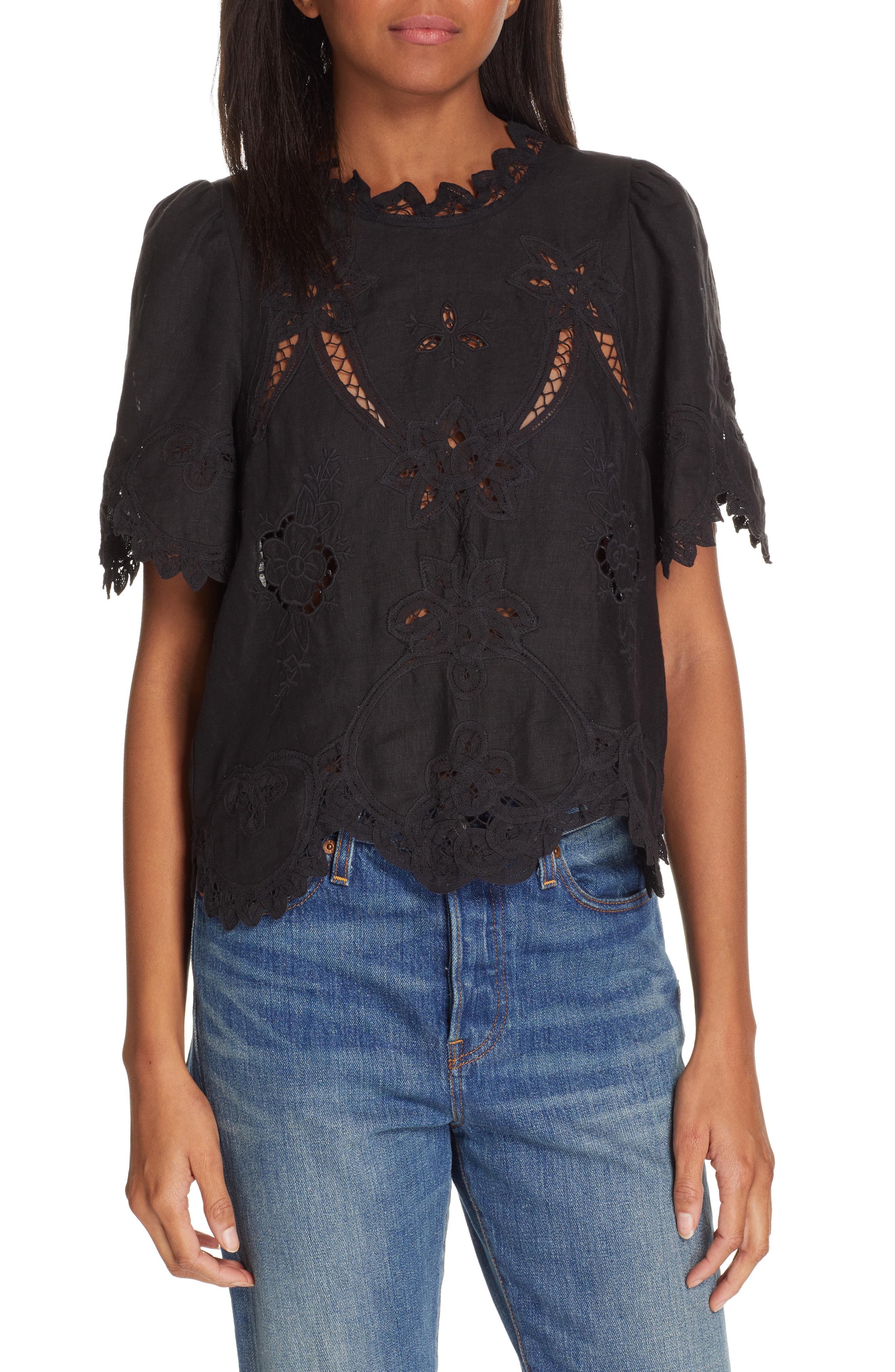 77655ed961d Rebecca Taylor Terri Embroidered Linen Top In Black