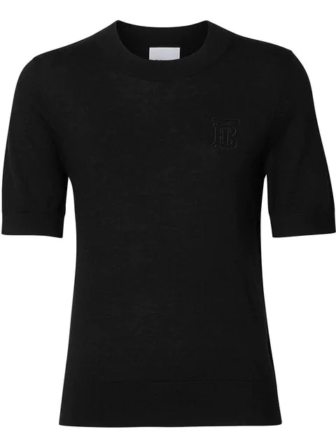 Burberry Callery Monogram Logo Cashmere Sweater In Black