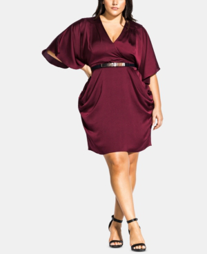 city chic plus size tangled faux wrap dress in port modesens. Black Bedroom Furniture Sets. Home Design Ideas