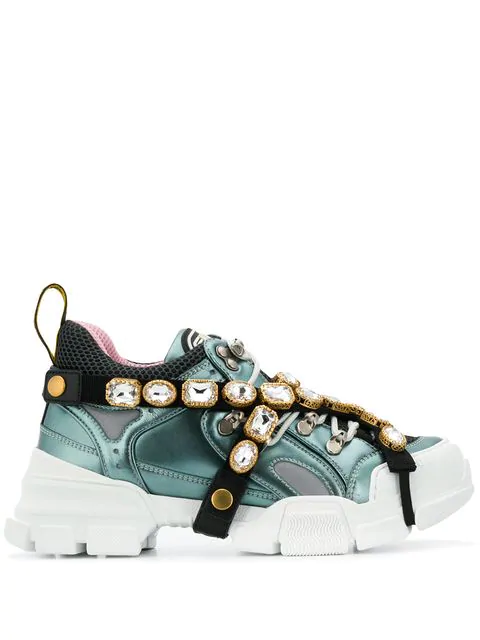 Gucci Flashtrek Crystal Embellished Low Top Trainers In Blue