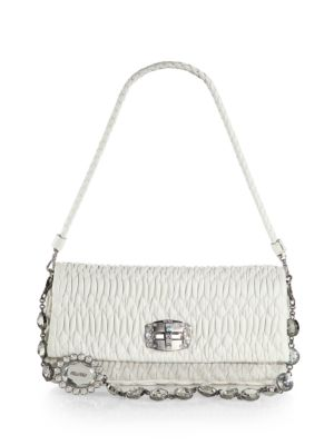 Miu Miu Double-Strap Quilted Leather Shoulder Bag In Bianco