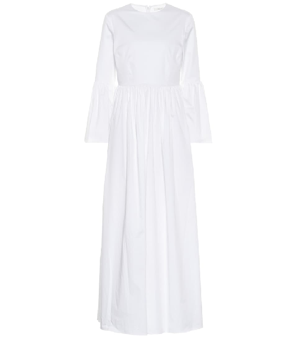 The Row Sora Bell-sleeve Cotton-blend Maxi Dress In White