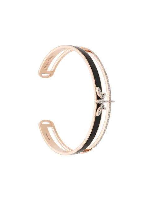 Anapsara 18kt Rose Gold Dragonfly Diamond Bangle In Black