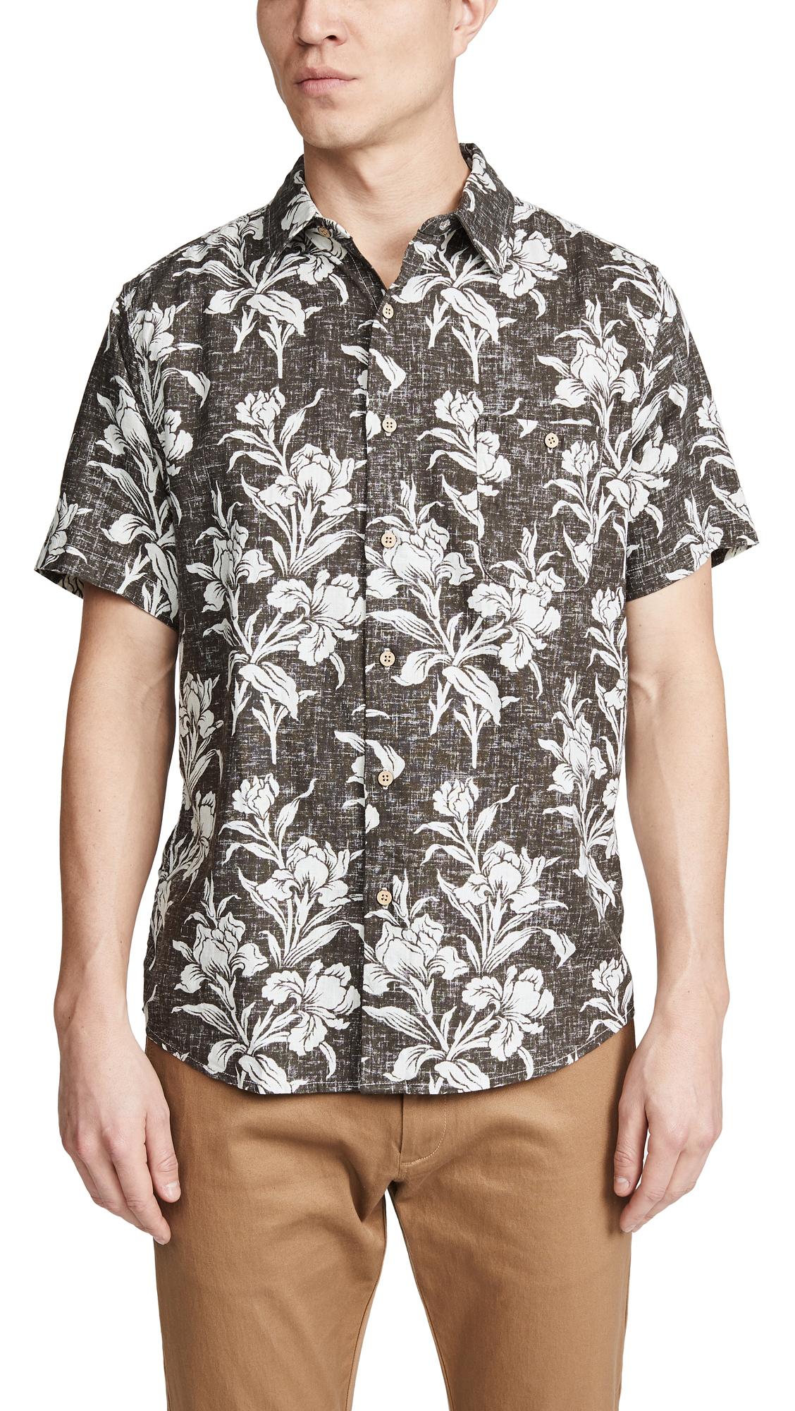f848384c Faherty Rev Print Coast Shirt In Black Floral   ModeSens