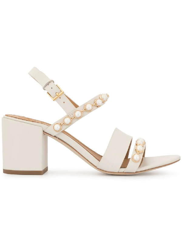 56b3d096580 Tory Burch Emmy Pearly Studded Block-Heel Sandals In White | ModeSens