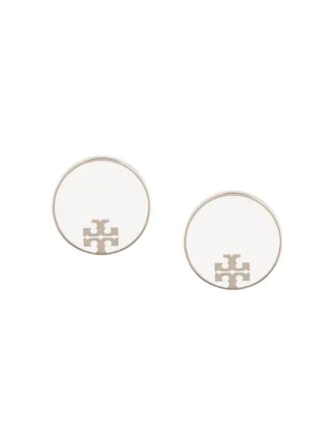 Tory Burch Enamel Logo Stud Earrings In White