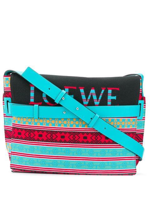 Loewe Stripe Knit Messenger Bag In Blue