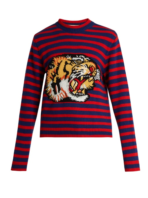 b001f66053c Gucci Bengal Tiger Striped Intarsia Jumper In Red And Blue Striped ...