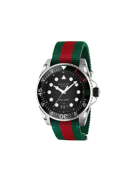 Gucci Green, Red And Metallic Silver Dive 45 Mm Steel Watch