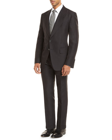 Tom Ford Linen-Blend Two-Piece Suit In Black