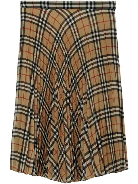 Burberry Vintage Check Chiffon Pleated Skirt In Beige