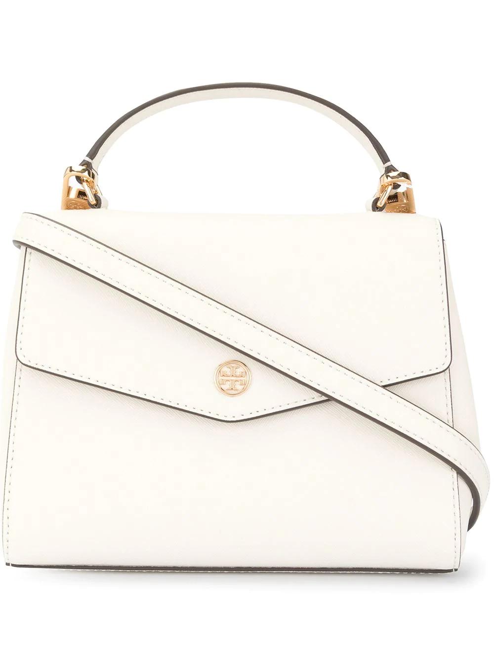 86f1f1dcaa0 Tory Burch Robinson Small Saffiano Top Handle Bag - White