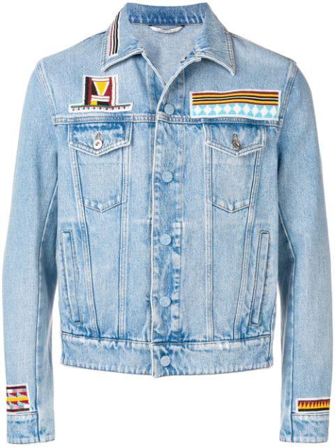 Valentino Geometric Embroidery Denim Jacket In Blue