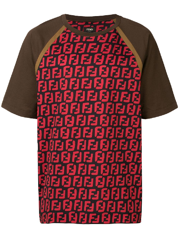 3d214c59 Fendi Ff Logo Printed T-Shirt - Brown   ModeSens