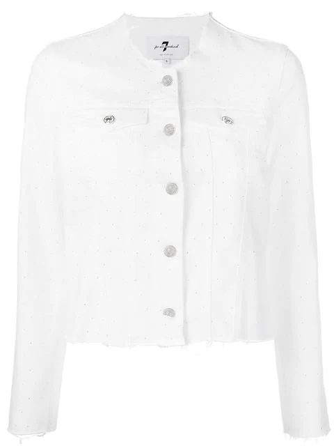 7 For All Mankind Rhinestone In White