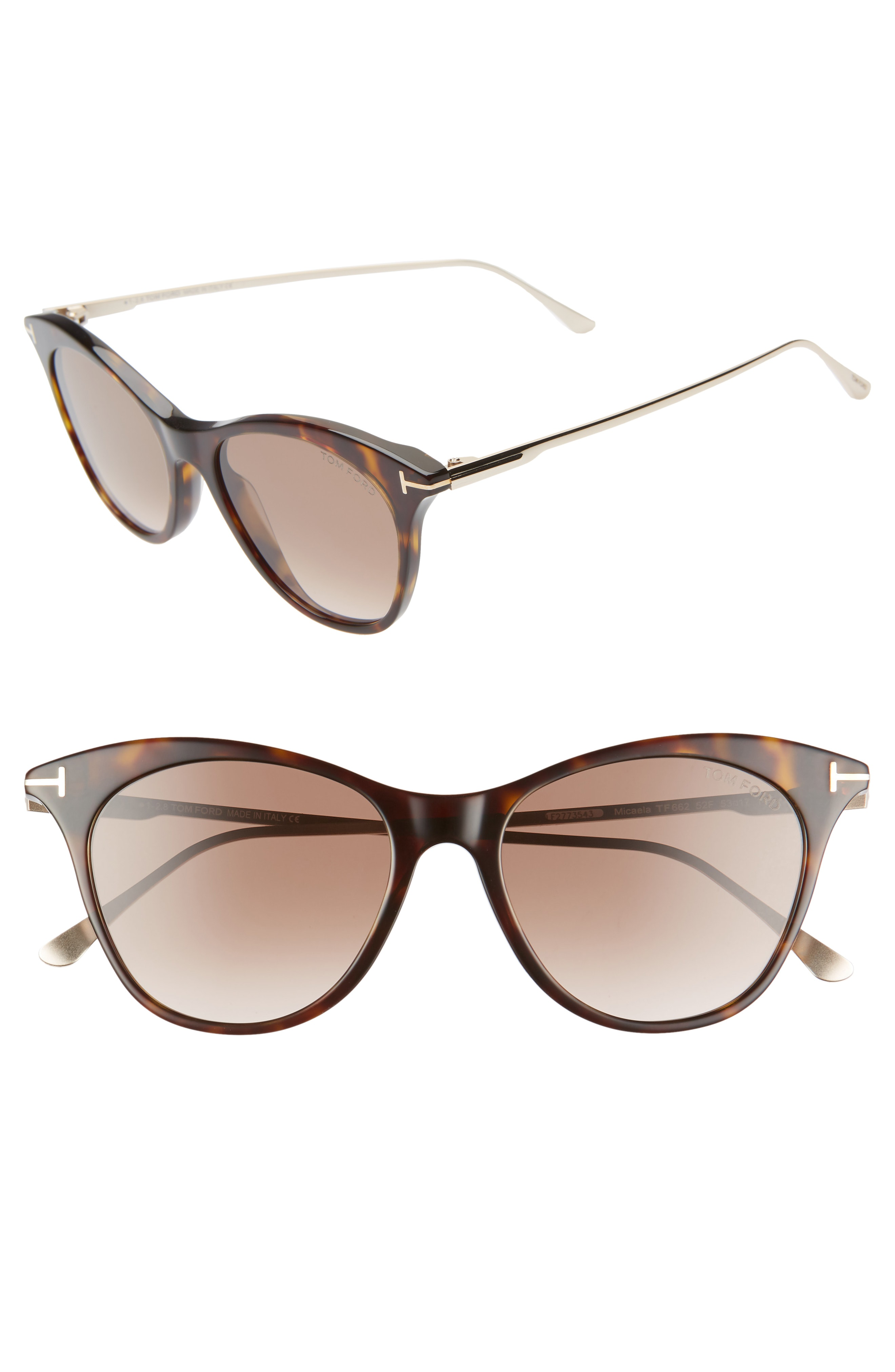 f6cc4e4d9199 Tom Ford Micaela 53Mm Cat Eye Sunglasses - Havana  Rose Gold  Pink Gold