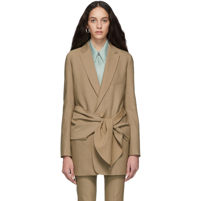 Tibi Brown Long Removable Tie Blazer In Sable Brown