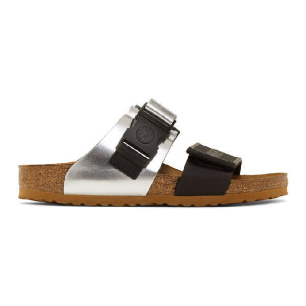 a7036664e Rick Owens Birkenstock Rotterdam Metallic Leather And Rubber Sandals In  189Rsilblk