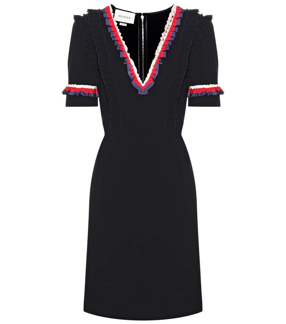 cbcabd9a0 Gucci Striped Ruffles V-Neck Dress In Llack | ModeSens