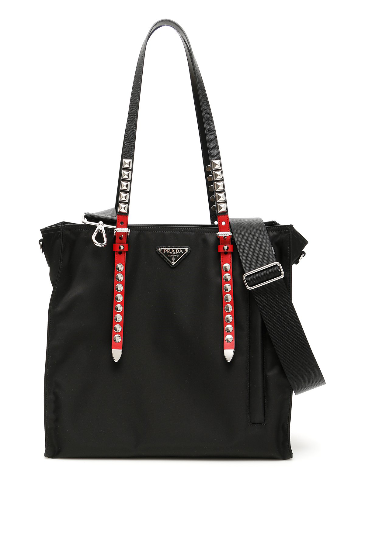61437df228ad Prada Logo Studded Tote Bag In Black