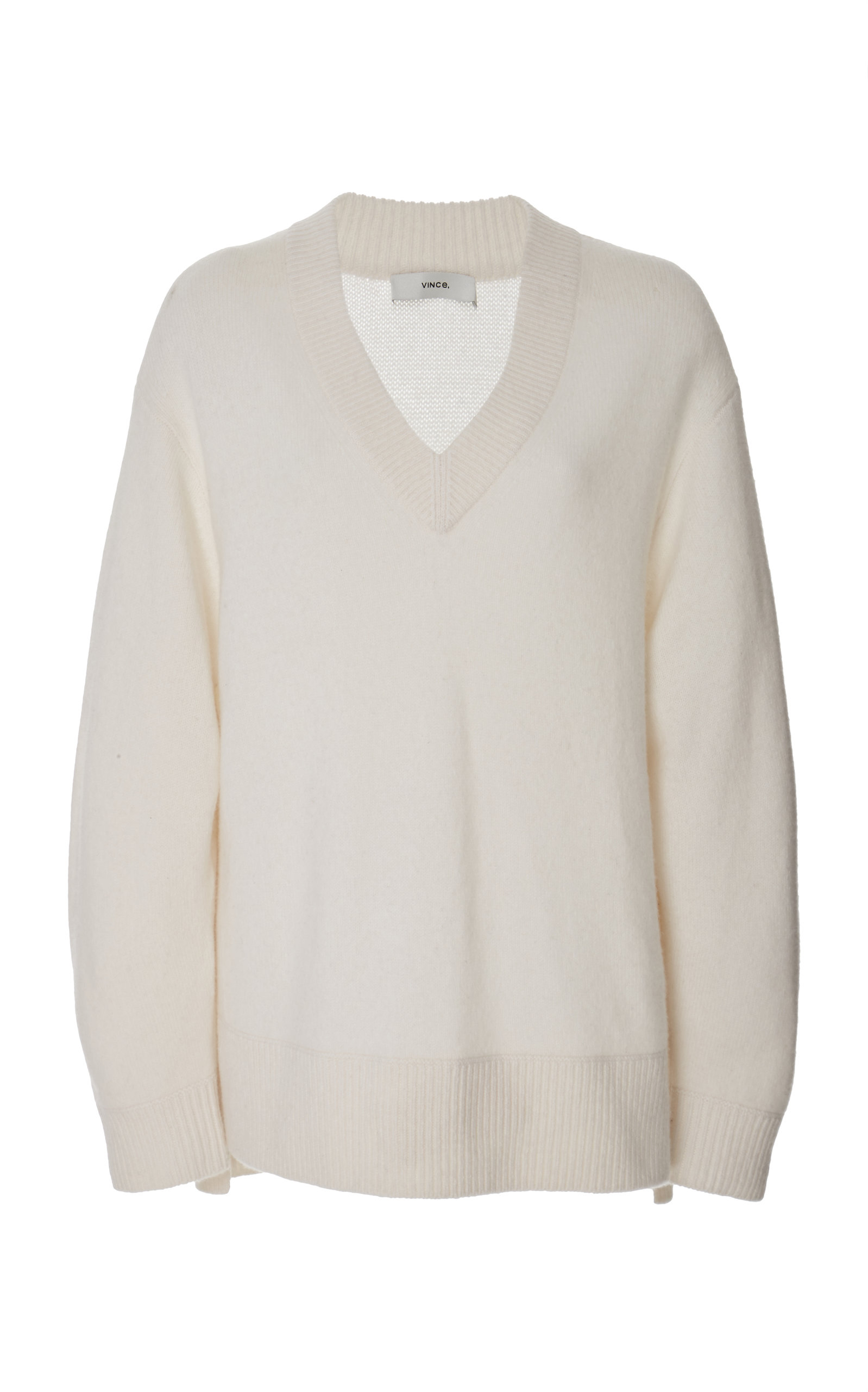 Vince Oversized Ribbed-Knit Cashmere Sweater In White