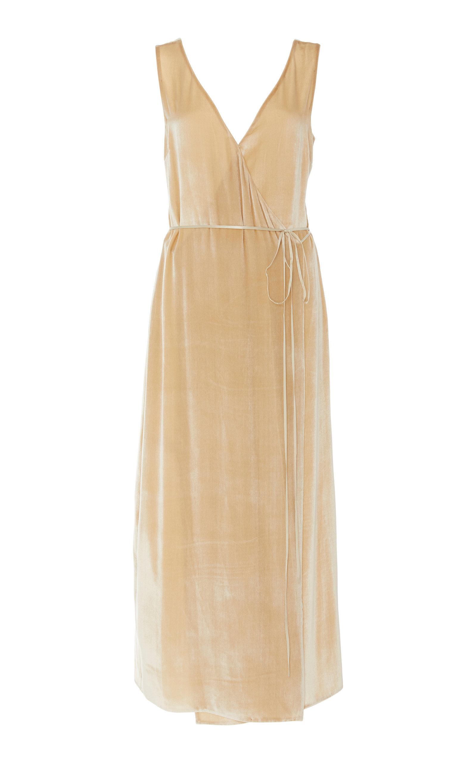 Vince Panne Wrap Effect Metallic Midi Dress Modesens