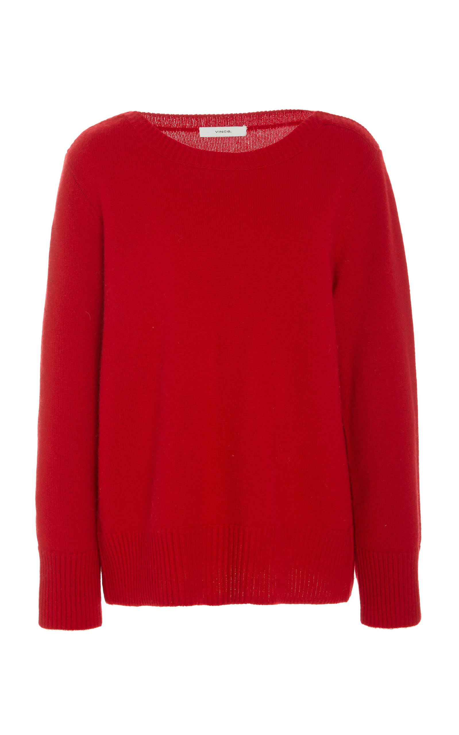 Vince Relaxed Ribbed-Knit Cashmere Sweater In Red