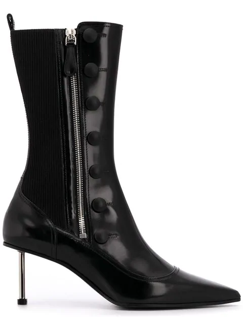 Alexander Mcqueen 60 Black Button-Embellished Leather Boots