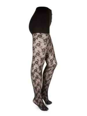 Dkny Floral Lace Tights In Black