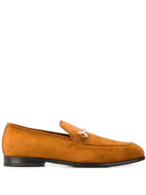 Jimmy Choo Marti Velvet Suede Loafers In 棕色