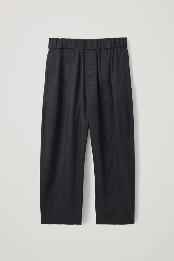 Cos Elasticated Barrel-leg Trousers In Black