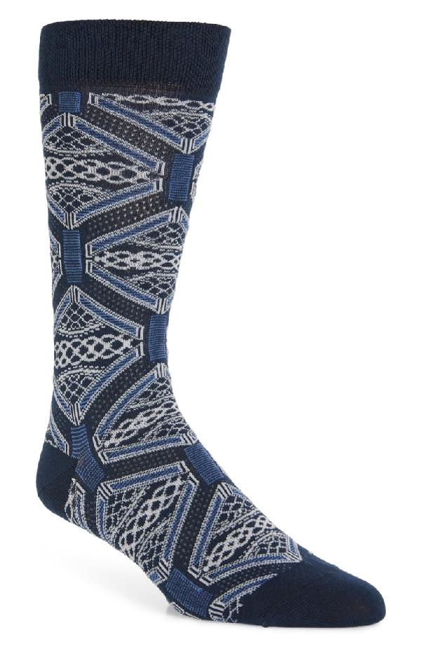 Ted Baker Penster Allover Pattern Socks In Navy