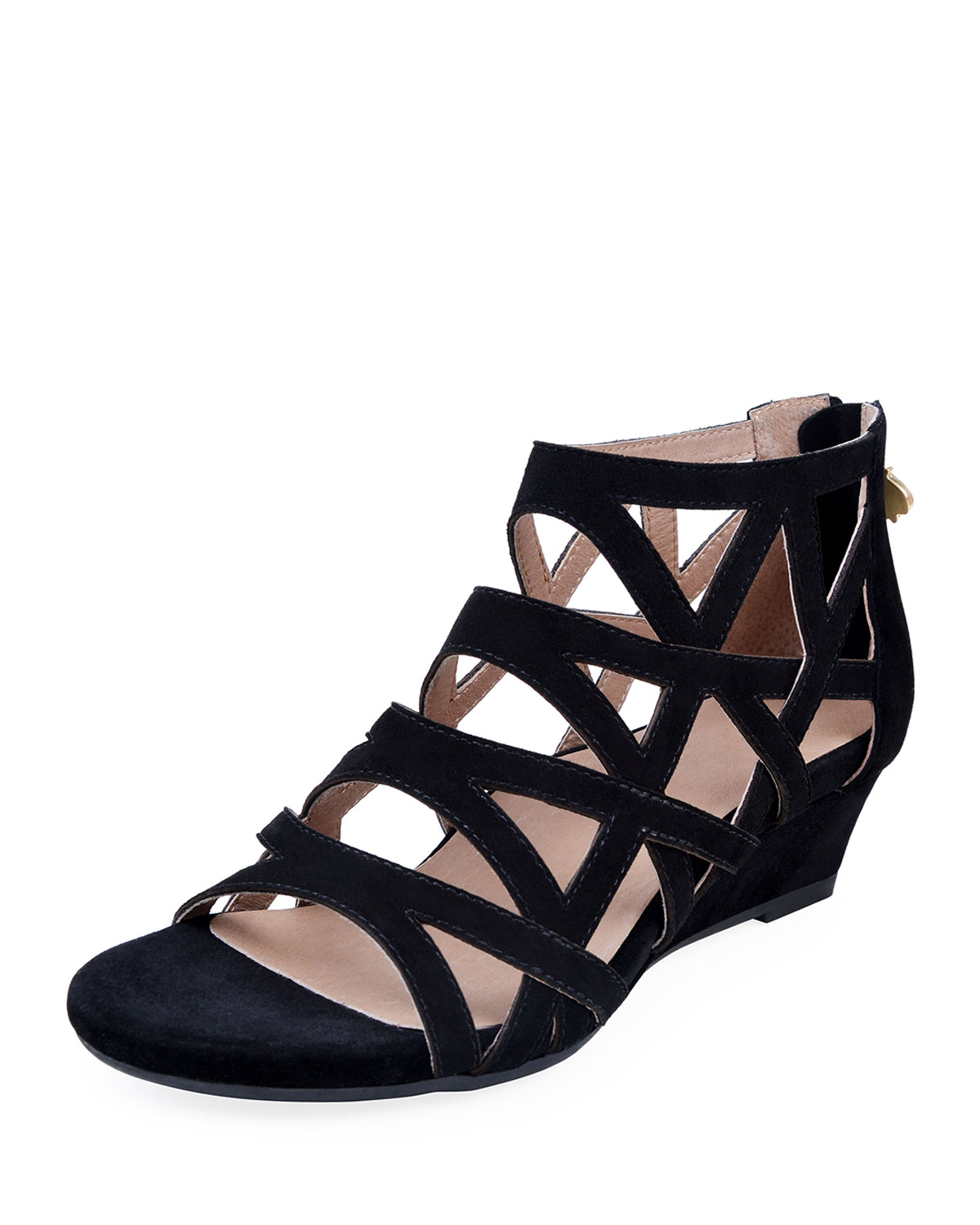 884b4d4ae84 Bettye Muller Concept Sashi Suede Caged Wedge Sandals In Black ...