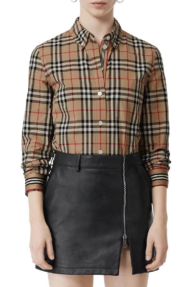 Burberry Turnstone Vintage-Check Cotton-Poplin Shirt In Beige