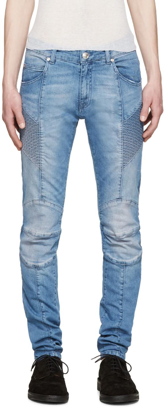 70e0ccaf6ee5bf Pierre Balmain Blue Skinny Biker Jeans | ModeSens