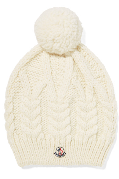 e69b50e48 Pompom-Embellished Cable-Knit Beanie in White