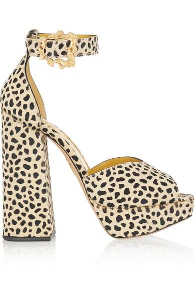 Charlotte Olympia Chantale Cheetah-Print Calf Hair Platform Sandals In White