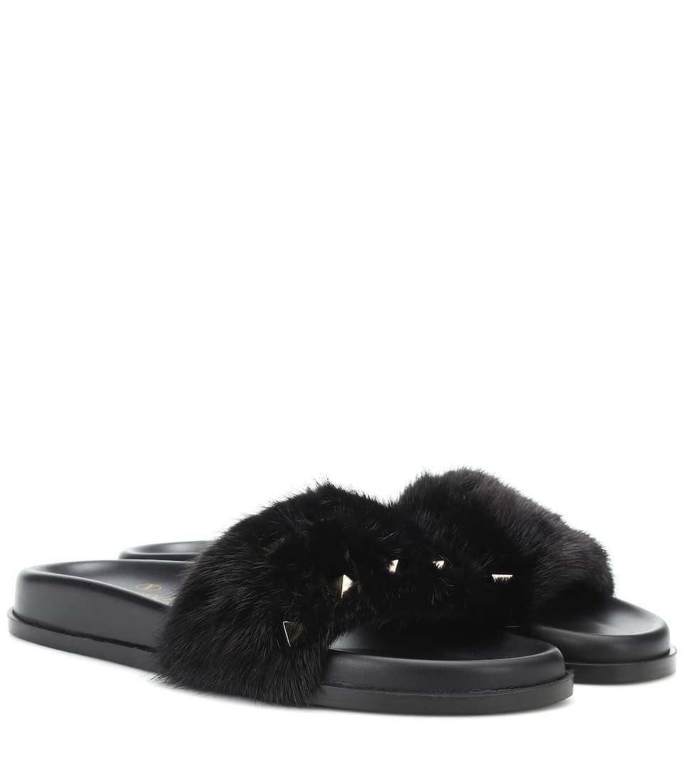 Valentino Garavani Mink Fur Slides In Black