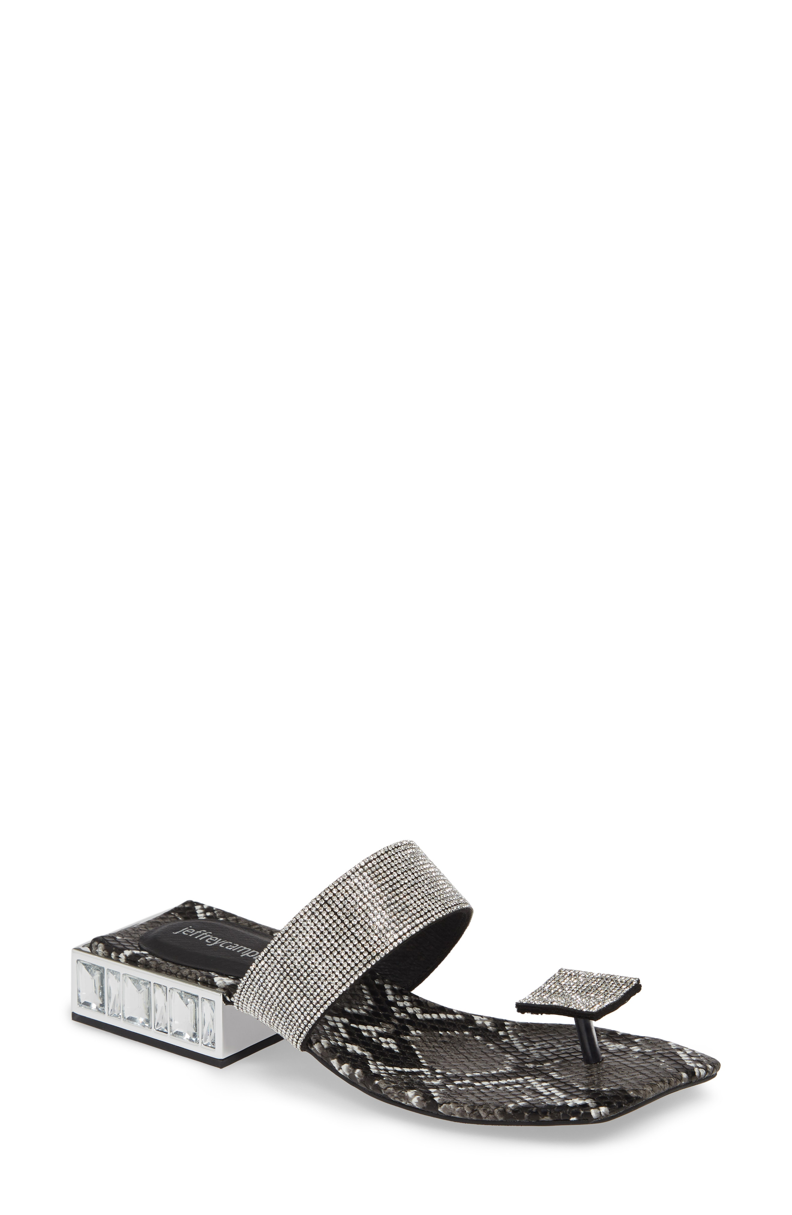 Jeffrey Campbell Alise Embellished Sandal In Grey Black