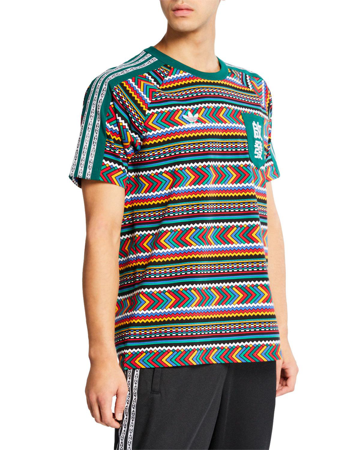 3ea82351f6775 Adidas Originals Men s X Pharrell Williams Solarhu Printed Pocket T-Shirt  In Multicolor