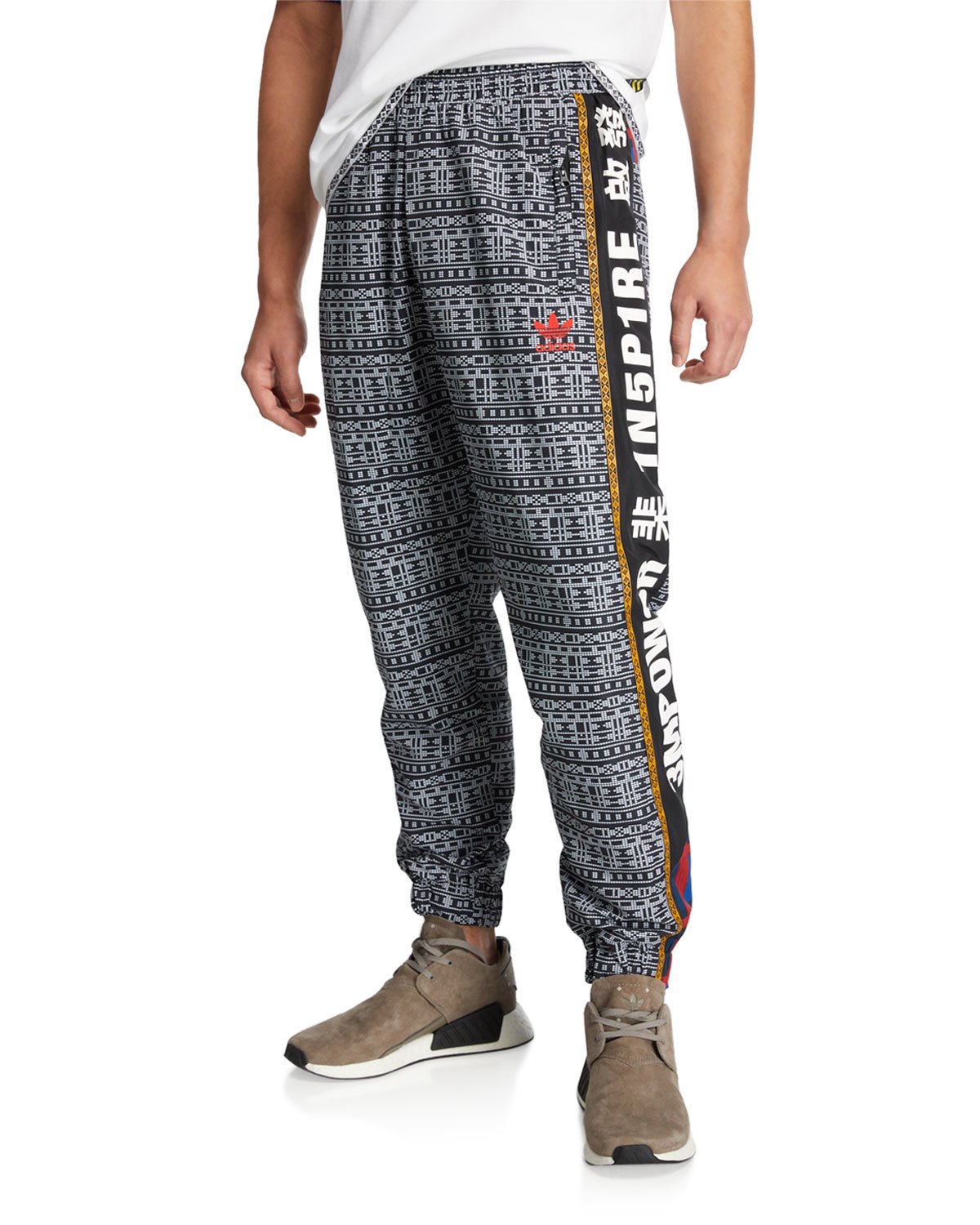 d80ff7be06e7 Adidas Originals Men s X Pharrell Williams Solarhu Graphic-Print Track  Pants In Black White
