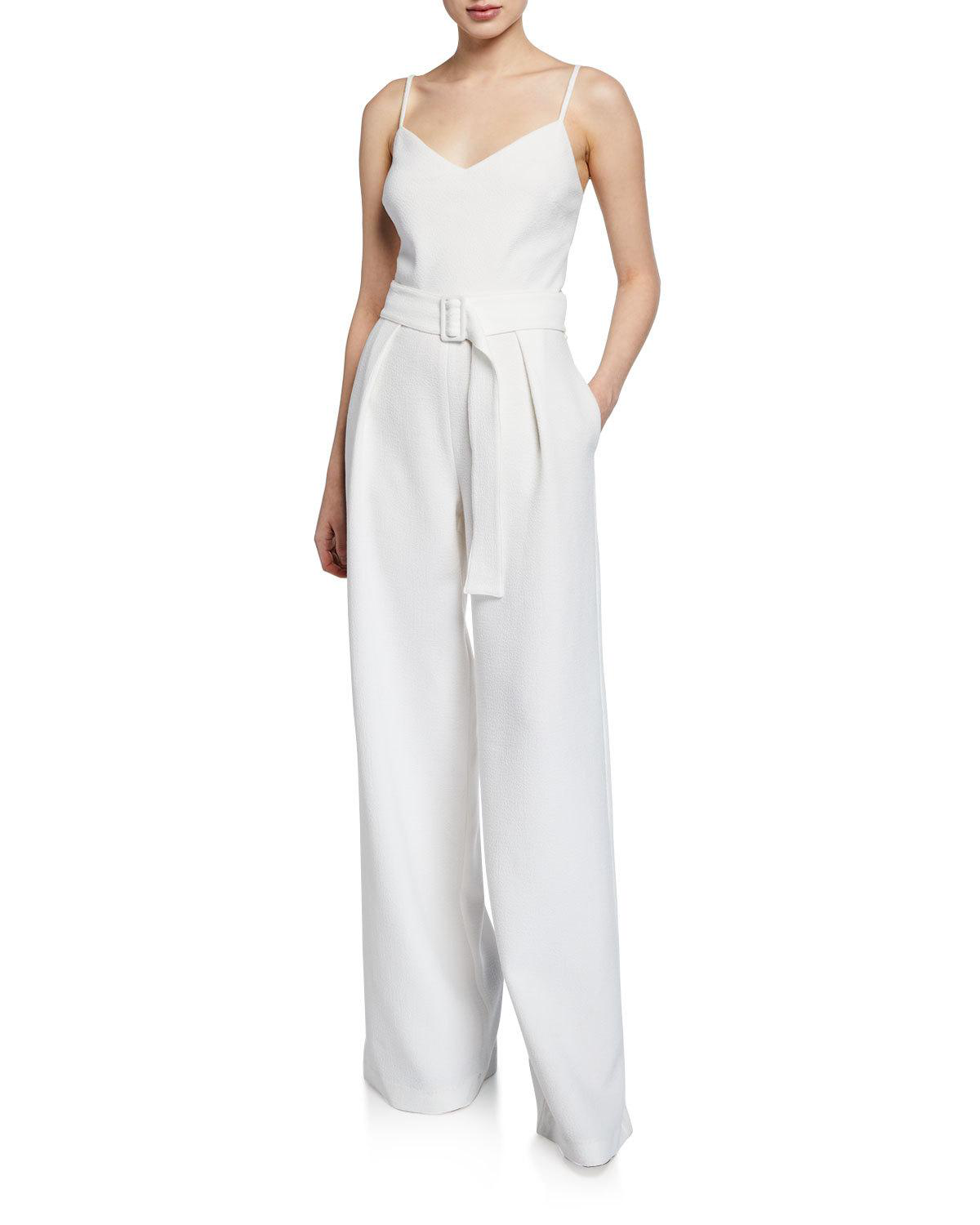 cfb027bb Black Halo Evie Sleeveless Wide-Leg Belted Jumpsuit In White | ModeSens