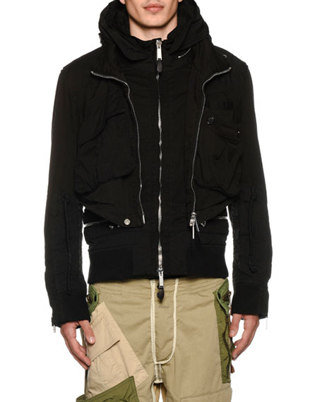 beef0ec6b Dsquared2 Men's Military Jersey Bomber Jacket In Black | ModeSens