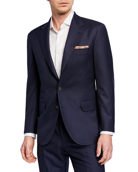 Brunello Cucinelli Men's Two-Piece Pied-De-Poule Super 120S Wool Suit In Navy