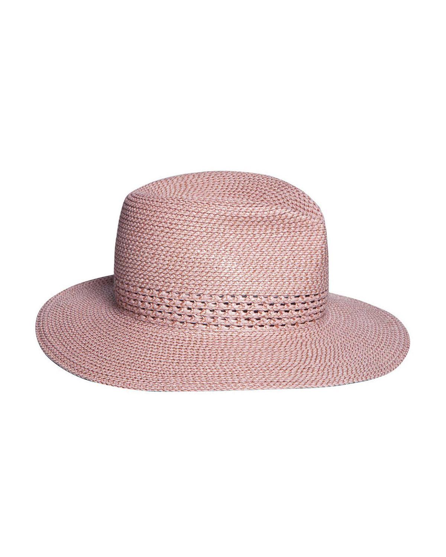 4e9f40c14e811 Eric Javits Bayou Squishee Woven Fedora Hat In Blush