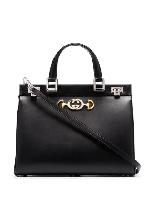 Gucci Zumi Smooth Leather Medium Top Handle Bag In 1000 Black