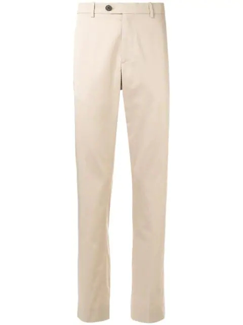 Gieves & Hawkes Mid-rise Straight Leg Trousers In Brown