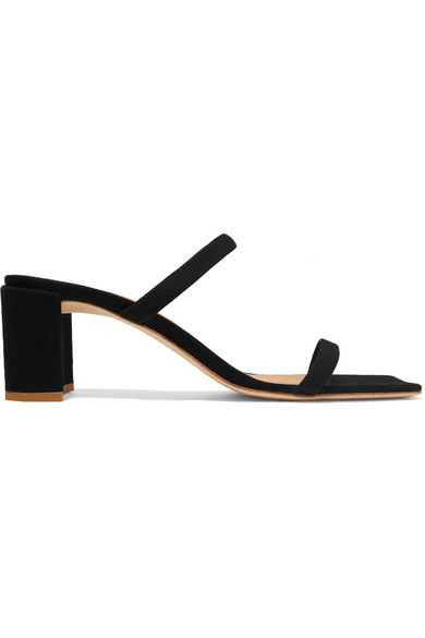 af0db6886617 By Far Tanya Suede Heeled Mules In Black